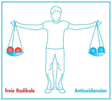 Antioxidanzien, freie Radikale, Zeichen